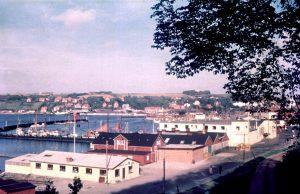 Lemvig Havn ca. 1964 med Roklubben inden den flyttede til Vinkelhage.